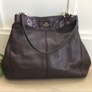Coach Purple Plum Floral Leather Shoulder Bag
